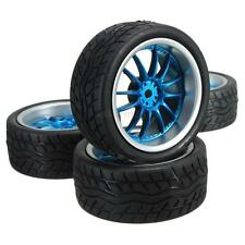4pcs RC 1:10 Flat Racing Tires Tyre Wheel Blue Rim Rubber On-Road Model Car