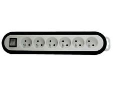Bloc Multiprise 6 Prises avec Interrupteur Couleur Noir Blanc 3600 Watt 230 V