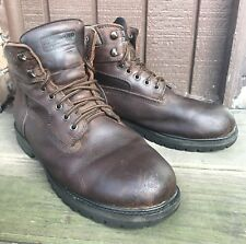 Mens Kirkland Signature Genuine Brown Leather Size 11 Hiking Work Boots Shoe-189