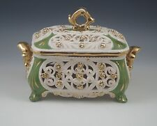 VINTAGE ITALY CERAMIC RETICULATED  JEWELRY OR VANITY BOX GOLD, CAPODIMONTE, KBNY