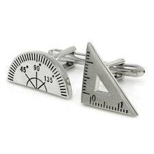 Protractor Set Square Cufflinks Novelty Gift Architect Maths Teacher Engineer
