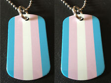 Rainbow Gay Pride Transgender 2-Sided Color Photo Dog Tag Necklace / Keychain