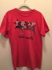 DAVID AND GOLIATH RED T-SHIRT WITH COW AND 'moo-stache' ON FRONT YOUTH MEDIUM
