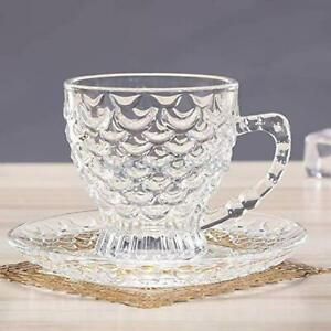 Crystal Clear Bubble Glass Tea & Coffee Green Tea Cup With Saucer (Set Of 12)