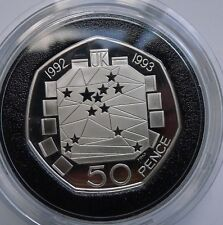 Fifty Pence 50p 1992 1993 EEC SILVER PROOFRarest 50p (Tray 116)