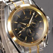 U.S.A KS Luxury Mens 6 Hands Gold Case Automatic Mechanical Date Wrist Watch+Box
