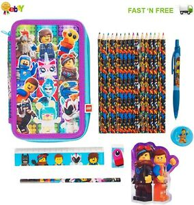 New Lego 2 Filled Pencil Case Girls and Boys with Coloured Pencils & Accessories
