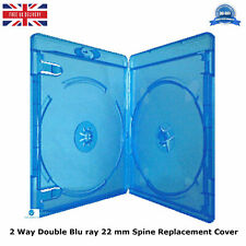 1 x 2 way Double Blu ray Case 22 mm Spine 2.2 cm Replacement Cover Face on Face
