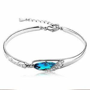 1 Pieces Fashion Womens 925 Sterling Silver Crystal Bracelet Bangle New Product