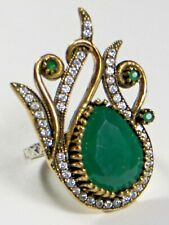 GORGEOUS ANTIQUE VINTAGE STERLING SILVER GOLD ESSENT EMERALD RING