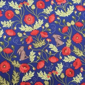 Royal blue poppy poppies hares floral flower Lewis & Irene 100% cotton fabric