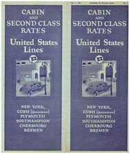 United States Lines Steamship Cabin & Second Class Rates 1926 Brochure