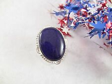Women's Ring Size 6.25 Bright Blue Ocean Sodalite Gemstone Sterling Over Copper