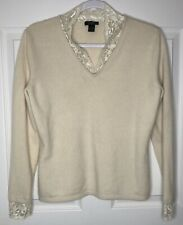 Prive Cashmere Large Ivory Lace Shirt Top Sweater Blouse L Pullover