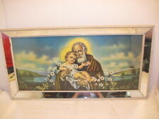 OLD WOOD FRAME GLASS RELIGIOUS  MIRROR JESUS BABY SAINT