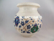 "7"" White Marble Flower Vase Pot Decorative pitcher Shape Inlay Art Handmade Gift"