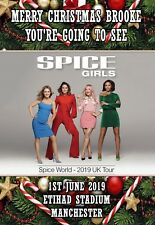 Spice girls Concert Gift tour card ticket present. ANY TEXT OR DATE  Christmas 2