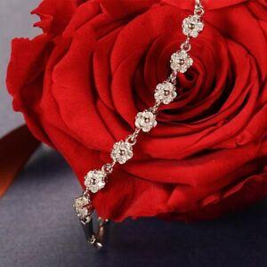 Charm 925 Silver Plated Friendship Flower Bracelets for Women Boho Jewelry Gift