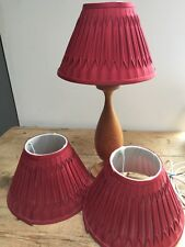 "SET OF 3 PINCH PLEATED SILK LINED DEEP RED LAMP SHADES 10"" BOTTOM X 6 3/4"" TALL"