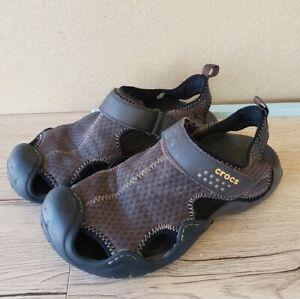 Mens Crocs Swiftwater Mesh Brown Deck Sport Sandal Size 7
