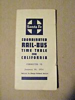 Santa Fe Coordinated Rail-Bus Time Table for California - Jan. 10, 1954