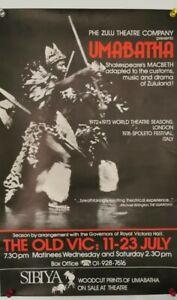 Vintage Umabatha Theatre Poster Zulu Macbeth Shakespeare 1977 Original African