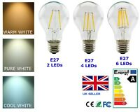 LED Filament Edison Light Bulb A60 E27 Globe Retro Vintage 2W 4W 6W