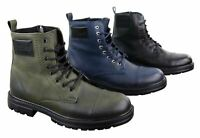 Mens Ankle Boots Military Army Laced Zip Casual Combat Vintage Classic Leather
