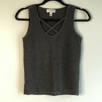 St John Sport Womens Tank Top Sweater Gray Sleeveless Cross Neck Ribbed Knit P 2