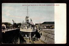 c1905 battle ship Missouri dry dock Charlestown Massachusetts postcard