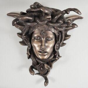 Medusa Head Wall Mounted Hanging Sculpture Cold Cast Bronze Figurine 34078