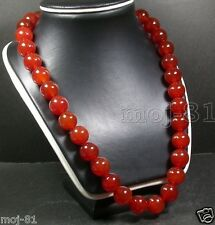 Round Beads Bead Necklace 18'' Aaa+ 12Mm Red 100% Natural A Jade Jadeite