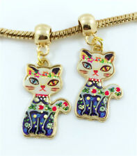 2pcs Cat Gold European Charm Crystal Spacer Beads Fit Necklace Bracelet NEW