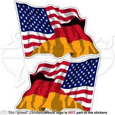 USA United States America & GERMANY American-German Flying Flag 120mm Sticker x2