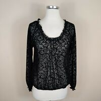 Lord & Taylor Black Sheer Velvet Floral Blouse Top Long Sleeve S Small