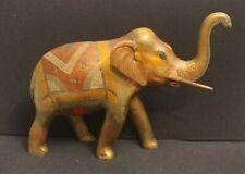 Vintage Large Ornate Brass Elephant Sculpture Trunk Up Heavy
