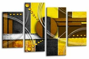 Le Reve Abstract Canvas Wall Art Large Picture Yellow Grey White Split Panel