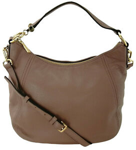 Michael Kors Fulton Hobo Shoulder Bag Dusty Rose Pink Brown Medium Top Zip