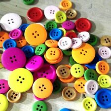 100pcs Mixed Color Size Wodden Bottons 4 Holes Cloths Sewing Crafts Supplies