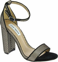Steve Madden Carrson Women's ankle strap high block heel sandals in black fabric