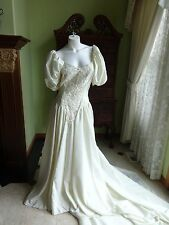 NEW ALFRED ANGELO BEAUTIFUL IVORY TAFFETA & PEARLS WEDDING DRESS SIZE 10