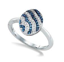10k Oro Blanco Azul y Anillo con Diamante Banda Ovalado Oval Racimo Diseño .15ct