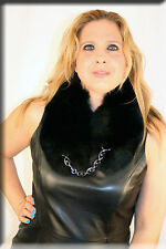 New Black Fox Fur Collar or Scarf with Chain Closure - Efurs4less
