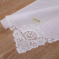1 Piece White premium cotton wedding gift lace handkerchief  for women/ladies