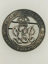 Replacement British Army WWI Services Rendered 'Silver War Badge' or Wound Badge