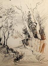 Vintage expressionist landscape ink painting