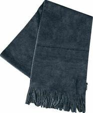 Black Polar Fleece Non-Pill Neck Scarf with Tassels Warm Soft Cosy Feel Unisex