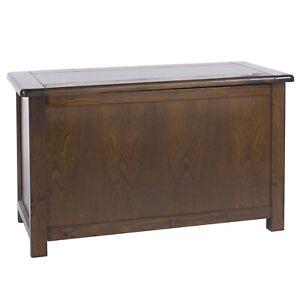 Dark Wood Lacquer Pine Ottoman Storage Wooden Toy Chest Bedding Blanket Box