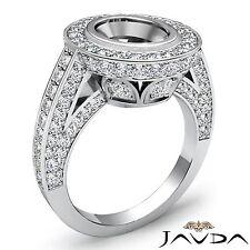 Semi Mount 14k White Gold Diamond Vintage Engagement Halo Pave Round 2Ct Ring