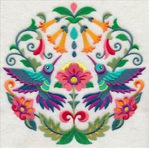 """Large Machine Embroidered Floral Hummingbird (M8582) Panel - size 7.79"""" x 7.73"""""""